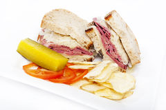 Corned beef reuben sandwich Royalty Free Stock Photography