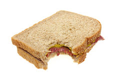 Corned beef sandwich bitten Stock Photos