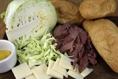 Corned Beef Sandwich Ingredients Stock Photos
