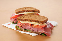 Corned beef sandwich on rye Royalty Free Stock Photography