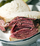 Corned beef sandwich rye bread Stock Photos