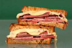 Corned beef sandwich with swiss cheese Royalty Free Stock Photography