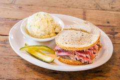 Corned Beef with side of Potato Salad  Stock Photography