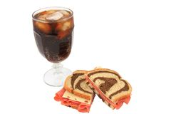 Corned Beef And Swiss Sandwich On Swirl Rye Bread Royalty Free Stock Image