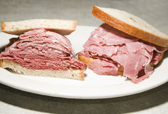 Corned beef tongue sandwich rye bread Stock Photos