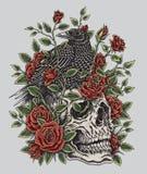 Corneille, roses et conception de tatouage de crâne illustration stock