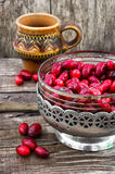 Cornel berries with herbaceous medicinal shrub Stock Photo