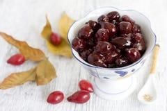Cornelian cherry confiture Stock Photos