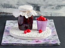 Cornelian cherry jam Stock Images