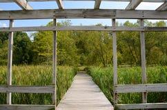 Cornell Botanical Garden Houston Pond Gazebo Royalty-vrije Stock Afbeelding