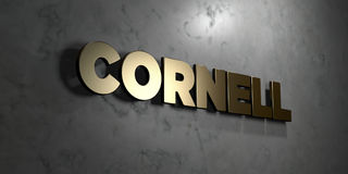 Cornell - Gold sign mounted on glossy marble wall  - 3D rendered royalty free stock illustration Stock Photography