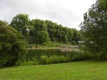 Cornell ogródu botanicznego Houston staw, ogródy i drewniana pergola, obrazy royalty free