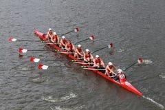 Cornell University-rassen in het Hoofd van het Kampioenschap Eights van Charles Regatta Women stock foto's