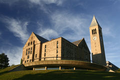 Cornell University's Uris Library. Uris Library and McGraw clock tower sit atop Libe slope at Cornell University royalty free stock photography