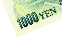 Corner of 1000 Yen Note Stock Image