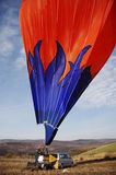 Blue Flames - Hot Air Balloon Inside Trailer Truck Royalty Free Stock Photography
