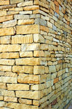 Corner. Sandstone material masonry acond building house outer wall one corner Royalty Free Stock Images