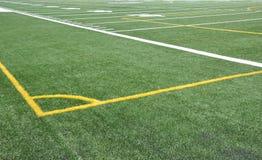 Corner. Soccer feild corner mark lines Stock Photo