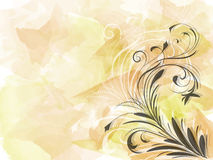 Corner of abstract black floral ornament on yellow background watercolour brush strokes. Vector illustration Royalty Free Stock Images