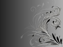 Corner abstract floral ornament on black and white background Royalty Free Stock Photography