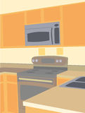 Corner angled empty kitchen microwave oven Stock Images