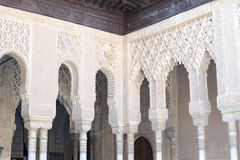 Corner with arches and columns. Alhambra palace located in Granada (Spain) is a master pice of the Islamic/Muslim Architecture in Europe Royalty Free Stock Photography