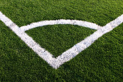 Corner areas on soccer field. Overhead view of corner area on football or soccer pitch Stock Image