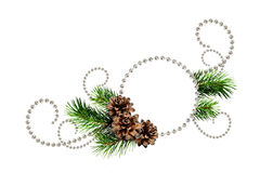 Corner arrangement from Christmas beads and pine tree twigs with Stock Image
