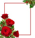 Corner arrangements with red roses and gypsophila flowers and bu Royalty Free Stock Images