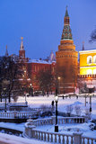 Corner arsenalnaya tower of Moscow Kremlin Stock Images