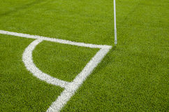 The Corner of the artificial grass soccer field Stock Images