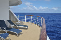 Corner Balcony on the Cruise Ship. The view from the corner balcony of a cruise ship at sea Royalty Free Stock Photos