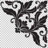 Corner baroque ornament decoration element. Isolate vintage corner baroque ornament retro pattern antique style acanthus. Decorative design element filigree Stock Photo