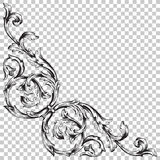 Corner baroque ornament decoration element. Royalty Free Stock Photo