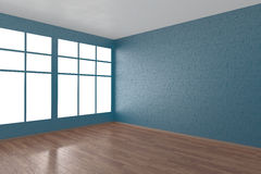Corner of blue empty room with windows. And wooden parquet floor, 3D illustration Stock Photos