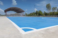 Corner in a blue soccer field. Corner in a blue cement soccer court Royalty Free Stock Photography