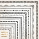 Corner border frame line pattern brushes 1 vector. Big set of ornamental corners border frame line pattern brushes 1 vector Stock Images