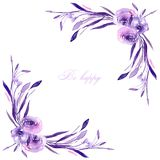 Corner border, frame with watercolor purple roses and branches. Hand drawn on a white background, for wedding, birthday and other greeting cards Stock Images