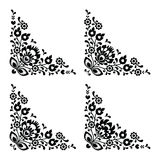 Corner border Polish floral folk embroidery pattern - wzory lowickie Royalty Free Stock Photo