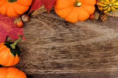 Corner border of pumpkins, gourds and leaves against wood. Autumn corner border of pumpkins, gourds and leaves against a rustic old wood background Royalty Free Stock Photo