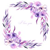 Corner border with watercolor purple roses, rhododendron flowers and branches. Hand drawn on a white background, for wedding, birthday and other greeting cards Royalty Free Stock Photo