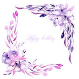 Corner border with watercolor purple roses, rhododendron flowers and branches. Hand drawn on a white background, for wedding, birthday and other greeting cards Royalty Free Stock Images