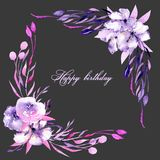 Corner border with watercolor purple roses, rhododendron flowers and branches, hand drawn on a dark background. For wedding, birthday and other greeting cards Stock Image
