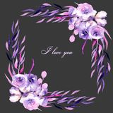 Corner border with watercolor purple roses, rhododendron flowers and branches, hand drawn on a dark background. For wedding, birthday and other greeting cards Royalty Free Stock Images