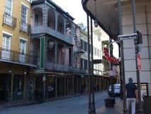 Corner of Bourbon Street in French Quarter Stock Photos