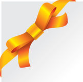 Corner bow. Orange bow. Ribbon. Vector illustration Royalty Free Stock Photos