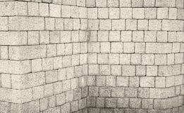 Corner brick wall. Corner wall of bricks, construction Stock Photo