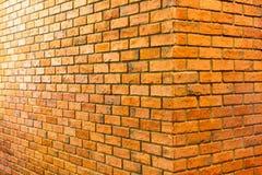 Corner of bricks wall with lighting shine royalty free stock photography