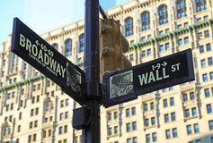 Corner of Broadway and Wall Street Stock Image