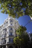 Corner of building. Building on the one of the streets in Madrid (spain Royalty Free Stock Photos